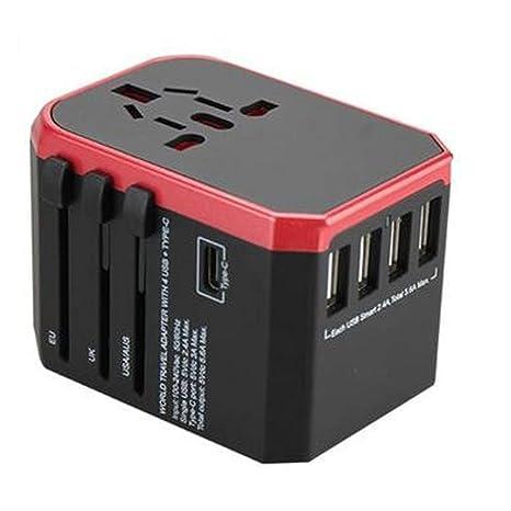 NoyoKere Adaptador de Viaje Cargador/Conector de conversión de Viaje Universal 4USB / Adaptador Global Convertidor de Enchufe eléctrico