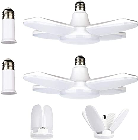 LED Garage Lights 6000LM Deformable Garage Ceiling Light E26 60W Daylight White with 4 Adjustable Panels 6500K LED Shop Lights for Garage Warehouse Workshop Basement