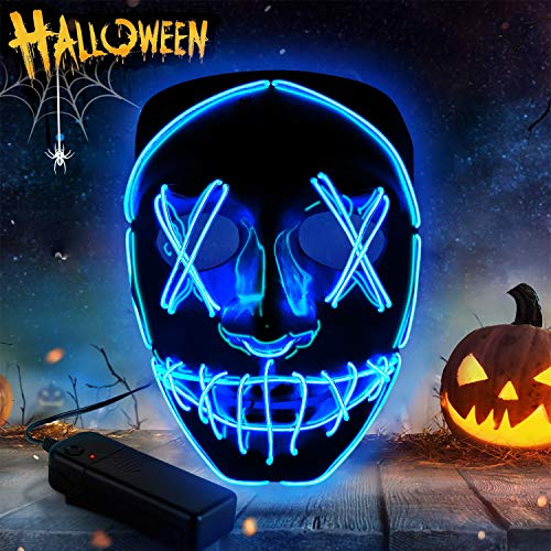 Yuboa Halloween Mask LED Light Up Masks Purge for Festival Party Cosplay, Scary Glowing Mask for Men Women Blue
