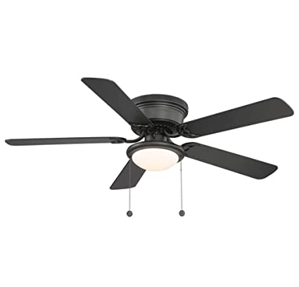 Hugger Low Profile Flush Mount 52 In Black Ceiling Fan With Frosted