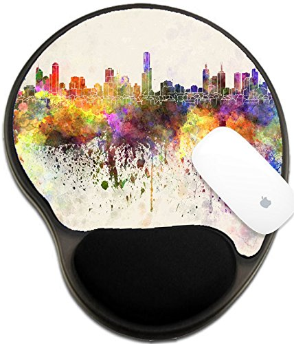 Luxlady Mousepad wrist protected Mouse Pads/Mat with wrist support design IMAGE ID: 29723746 Melbourne skyline in watercolor - Domestic Melbourne