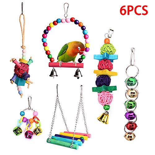 Wieppo Bird Parrot Toys - Bird Hanging Shredding Swing Chew - Birds Ladder Bell Toys for Conure, Parakeets, Mynah, Cockatiel Macow, Coconut Bird, Love Birds