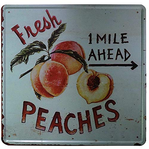 """SIGNT Outdoor Garden Fresh Peaches Fruit Tin Signs Vintage Bar Country Bar Gifts Retro Metal Sign Wall Decor for Home Garage Dorm Personalized Design 12"""" x 12"""" from SIGNT"""