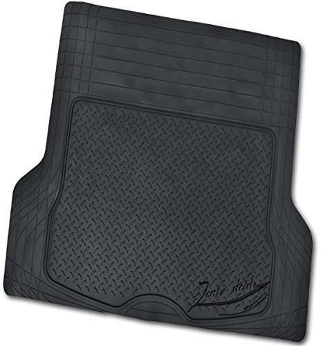 Zento Deals Universal Fit Trimmable Heavy Duty Diamond Plate Cargo Trunk Mat (Black) -