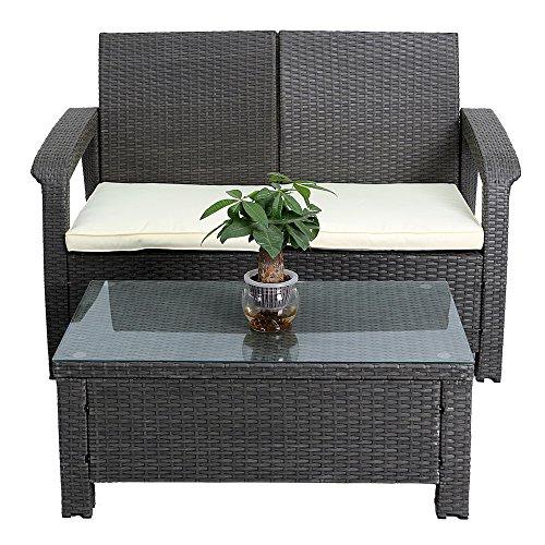 2 Piece Patio Rattan Seat Sofa Loveseat Wicker Outdoor Garden Cushioned Furniture Set, 2 Throw Pillows (Grey) price