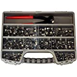 """Oetiker Clamp Assortment Case, Oetiker Stepless® Ear Clamps, Single Ear Hose Clamps (400 Pack (11/32"""" - 11/16""""), With Pincers)"""