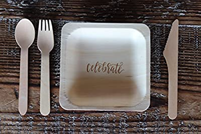 StatementWare Disposable Dessert Plates (50-Pack)—100% Natural, Eco-Friendly Alternative to Plastic Dessert Plates, Party Plates and Cake Plates