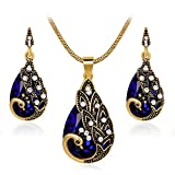 Ezing Women Gift Vintage Gold Plated Blue Peacock Jewelry Set Pendant Necklace Earrings (blue)