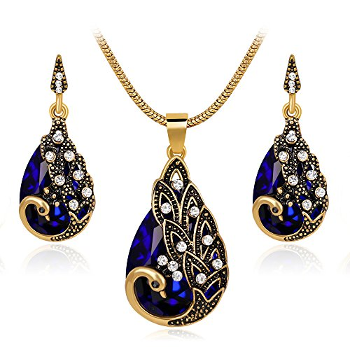 Ezing Women Gift Vintage Gold Plated Blue Peacock Jewelry Set Pendant Necklace Earrings (blue) by Ezing
