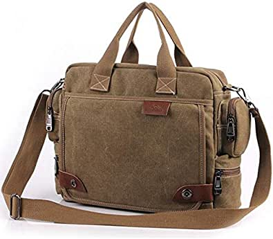 letaowl Bolsos de hombro Nueva Marca Lienzo Business Briefcase Bolso Bolso De Hombre Retro Hombro De Gran Calidad Bolsas De Viaje Multifunción Vintage Laptop Bag