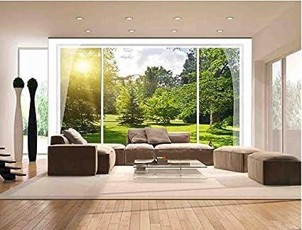 LWCX 3d Room Wallpaper Custom Mural Sunshine Garden Scenery Outside The Window Painting Photo