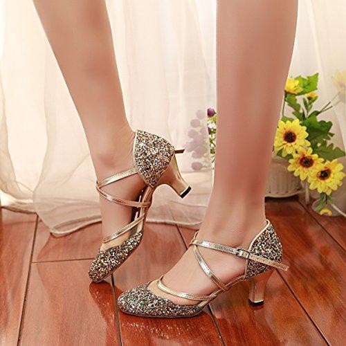 Matrimoni Minitoo Latinoamericani 6cm Chiusa 35 gold Scarpe Con Balli Punta Oro Eu Per Da Donna Heel E Glitter PqA6xvPrw