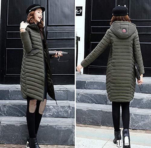 Solidi Anteriori Giacca Donna Con Cappotti Armeegrün Lunga Coat Manica Di Cerniera Invernali Vintage Colori Piumini Tasche Cappuccio Moda 7U7x1q