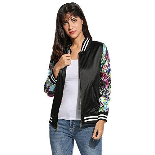 AiSiC Women Casual Both Sides Wear Long Sleeve Floral Print Jacket Coat