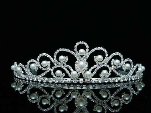 (Bridal Rhinestones Crystal Pearl Wedding Tiara)