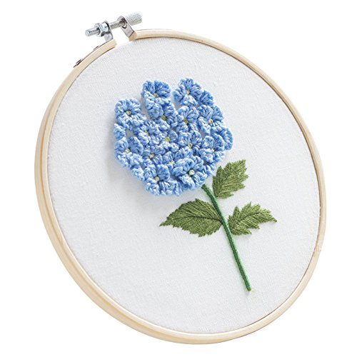 Full Range of Stamped Embroidery Starter Kit with Partten, DIY Beginner Cross Stitch Kit Including Embroidery Cloth with Pattern, Embroidery Hoop, Color Threads, and Tools Kit (Floral Hoop)