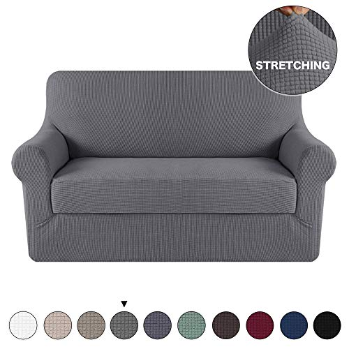 (Turquoize 2 Piece Couch Covers for Furniture Sofa Protector Cover with Separate Cushion Cover with Jacquard Small Checked Fabric Gray Loveseat Slicover/Furniture Cover (Loveseat, Charcoal Gray))