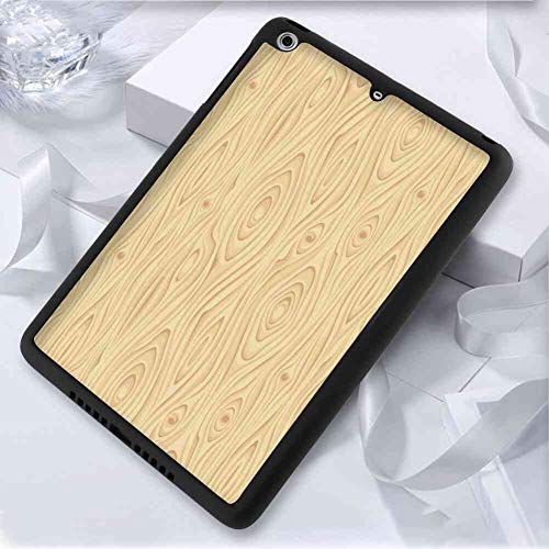 (iPad Pro (2018) (9.7 Inch) Case TPU+PC Beige Wooden Texture Pattern Grains of Wood Natural Tree Growth Lines of Nature Organic Theme Cream)
