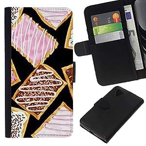 All Phone Most Case / Oferta Especial Cáscara Funda de cuero Monedero Cubierta de proteccion Caso / Wallet Case for LG Nexus 5 D820 D821 // esmalte galleta dulce de color rosa postre