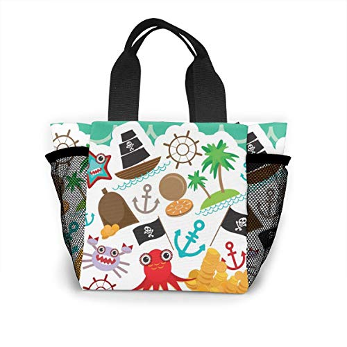 Card Pirate Cute Invitation Animals Shopping Tote For Women Insulated Lunch Tote Bag Cute Lunch Box Lunchbox Reusable Lunch Bag Lunch Organizer Lunch Holder For Women Adult Girls Kids Men