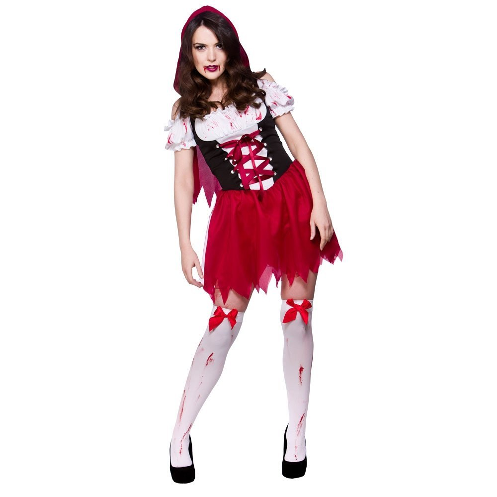 (Xs) Little Dead Riding Hood Ladies Zombies Costumes for Adult Womens Living Dead Halloween Trick Treat Party Fancy Dress Up Outfits Wicked Costumes HF-5086