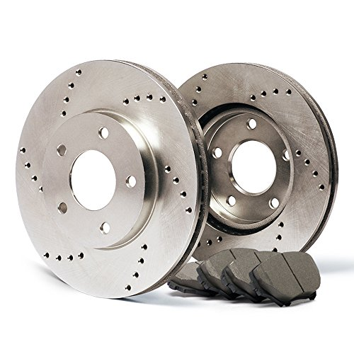 (Front) Premium Cross Drilled Rotors and Ceramic Pads Brake Kit CP014221 | Fits: 2004 04 Chevy Trailblazer EXT 7 Passenger Models