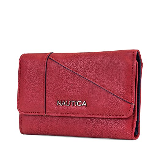 Nautica St. Abbys Point Womens Small Vegan Leather RFID Wallet (Fuego Red) by Nautica