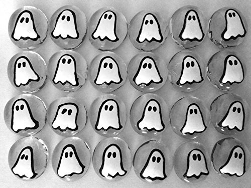 HALLOWEEN GHOST - Set of 24 Hand Painted Glass Gems; Party Supplies, Party Favor, Decoration, Token, Memoir, etc.let your imagination run wild!Crafts etc, Halloween Ghost -