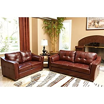 Great Abbyson Living Torrance 2 Piece Leather Sofa Set In Burgundy