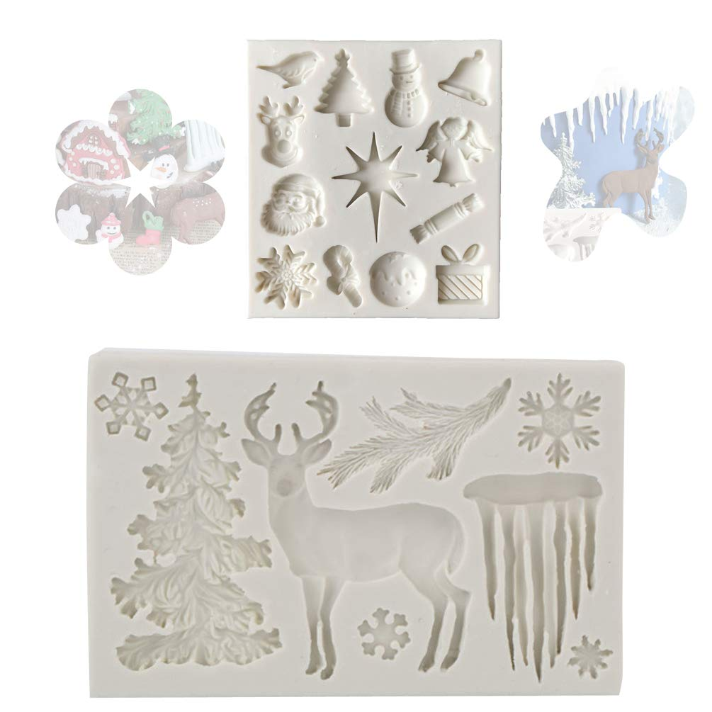 Christmas Deer Reindeer Cake Mould Fondant Elk XMAS Tree Snow Snowman Santa Claus Bell Angel Decorating Silicone Icing Chocolate Mold Baking Sugarcraft FunMove