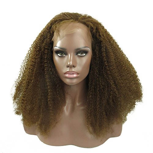 """Remeehi PROMOTION Stock Wig 20"""" 100% Indian Rmmy Human Hair Afro Kinky Curl Full Lace Wigs 4# Medium Brown"""