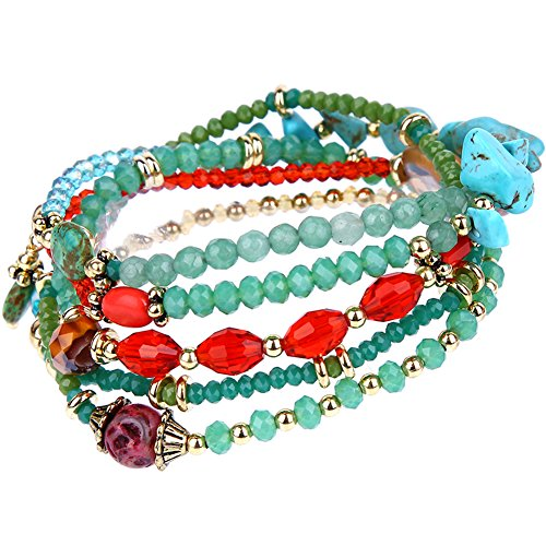 tom+alice Novelty Bohemian Wrap Bracelets for Women Silver Beads Natural Turquoise