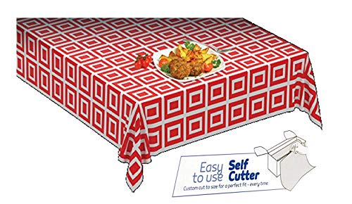 Clearly Elegant Picnic / Party Plastic Disposable Tablecloth Roll Red ,Picnic Colored Table Covers On a Roll with Self Cutter Box,Cut Tablecloth to Your Own Table Size,Indoor/Out Door