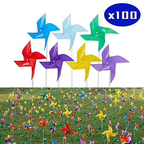 Tsocent Multi-Color Pinwheels Set (Pack of 100) - Outdoor Windmill for Yard Garden Party Decoration with Pole - Toy Wind Spinners Gifts for Kids (8 Dozen -