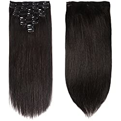 """Lovbite Hair Human Hair Clip In Hair Extensions Double Weft 120g/4.2oz 20 Inch Grade 8A Straight Clip On Human Hair Extensions 8Pieces/Lot 20Clips(20""""-120g, 1B Natural Black)"""