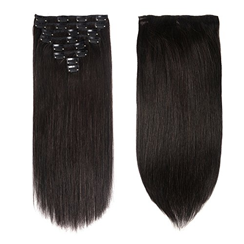 Lovbite Hair Human Hair Clip In Hair Extensions Double Weft 120g/4.2oz 20 Inch Grade 8A Straight Clip On Human Hair Extensions 8Pieces/Lot 20Clips(20
