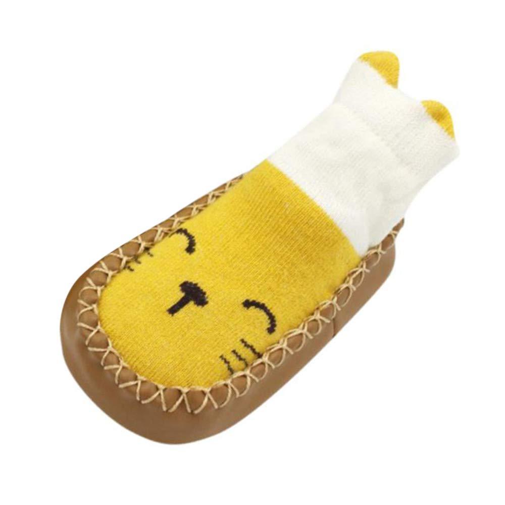 Respctful✿Anti Slip Baby Socks Unisex Baby Soft Sole Indoor Slipper Toddler Anti Slip Socks for Infant Boys Girls Warm Soft Yellow
