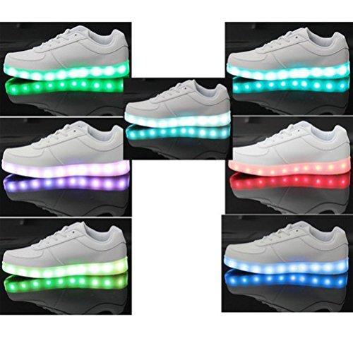 (Present:kleines Handtuch)JUNGLEST® Unisex Damen Herren USB-Lade LED leuchten Sportschuhe Blink Luminous Fashion Sneakers für H Weiß