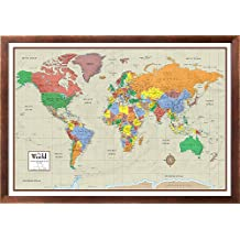 Swiftmaps World Contemporary Elite Wall Map Poster Mural 24h x 36w (Walnut Framed)