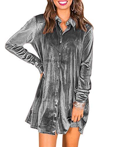 Caitefaso Womens Velvet Button Down T Shirts Swing Mini Dress Casual Long Sleeves Lapel Tunic Tops Grey Medium ()