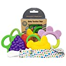 Ike & Leo Teething Toys: Baby Infant and Toddler WITH Pacifier Clip / Teether Holder, Best for Sore Gums Pain Relief, Eco Friendly BPA Free & Freezer Safe, Set of 4 Silicone Teethers