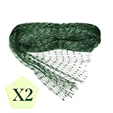 PHYEX 2-Pack Anti Bird Protection Net - 13Ft x 26Ft Green Bird Netting Protection, Protect Fruits, Garden Plant - Square Mesh Size (4/5-Inch x 4/5-Inch)