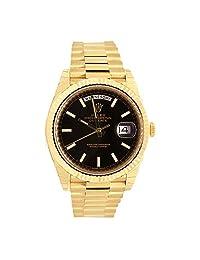 Rolex Day-date 40 Black Diagonal Motif Index Dial 418 Yellow Gold Mens Watch 228238