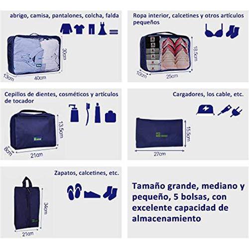 1 Bolsa Cosm/¨/¦tico Bolsa de Lavander/¨/ªa Ideal para Viaje TOMOUNT 5 SET Organizador de Equipaje con Bolsa de Zapato Maletas y Mochilas Organizador de Viaje Organizadores para Maletas
