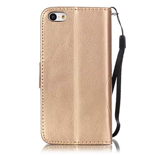 JIALUN-carcasa de telefono Con ranura para tarjetas, cordón, la presión hermosa patrón de moda abrir el teléfono celular Shell para IPhone 5C ( Color : Gold , Size : IPhone 5C ) Gold
