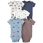Carter's Baby Boys 5 Pack Bodysuit Set, Animals, Newborn
