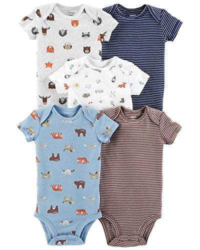 Carter's Baby Boys 5 Pack Bodysuit Set, Animals, 9 - Animal Carters