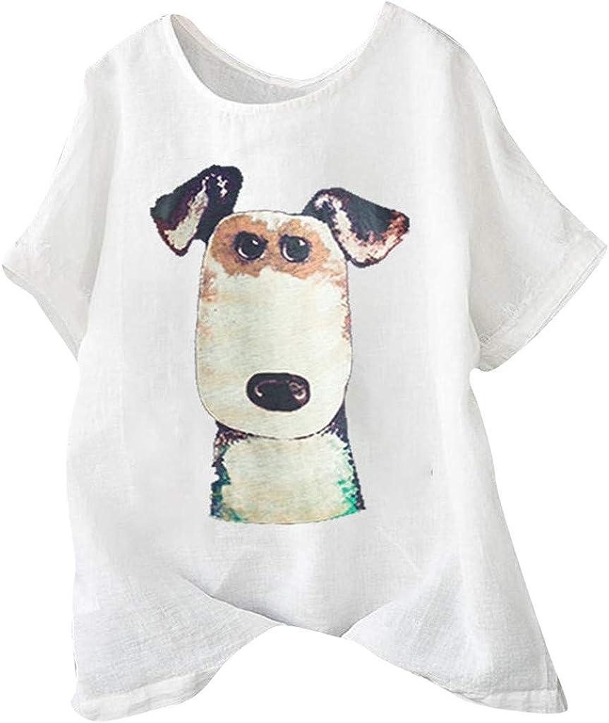 Amazon Com Kiminana Women S Cotton And Linen Loose Cartoon Dog