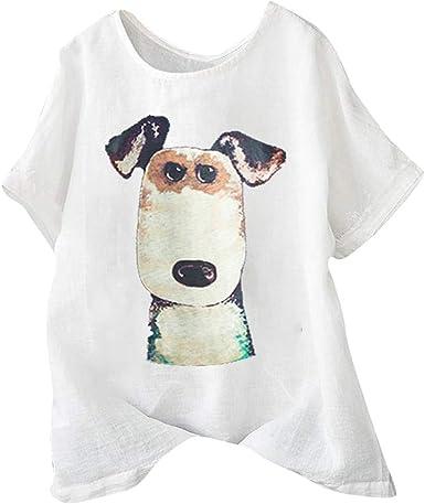 Camiseta De Manga Corta para Mujer Nueva Camiseta De Moda De Verano Mujeres Casual Talla Grande Perro Imprimir BotóN De Lino Suelto TúNica Camisa Blusa Tops: Amazon.es: Ropa y accesorios