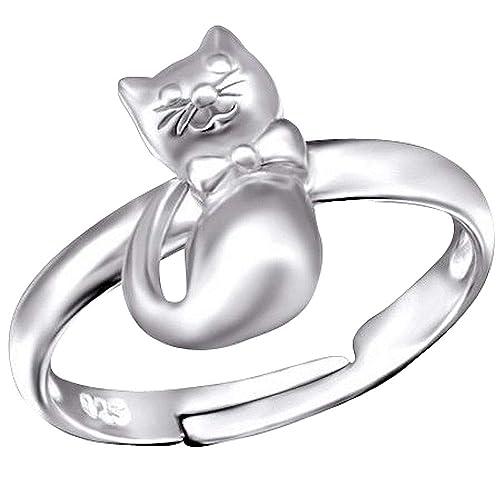 So Chic Joyas - Anillo infantil gato ajustable Plata 925 ...